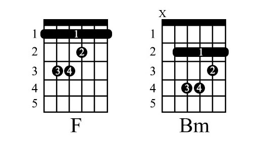 F and Bm Chords