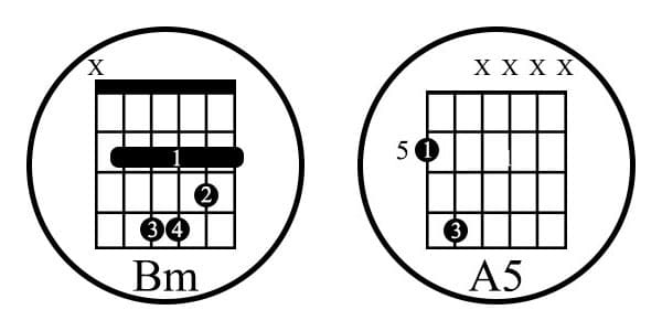 barre and power chords (Bm and A5)